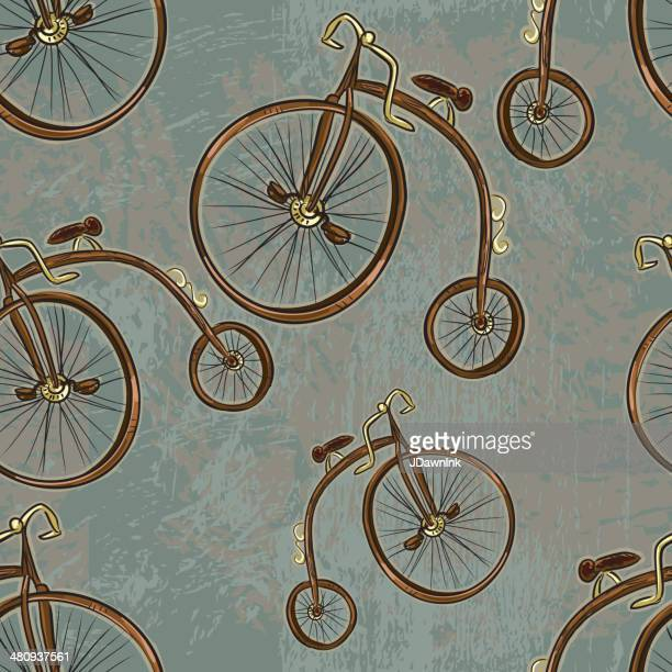 pennyfarthing bicycle steampunk repeating seamless pattern - goth stock illustrations, clip art, cartoons, & icons