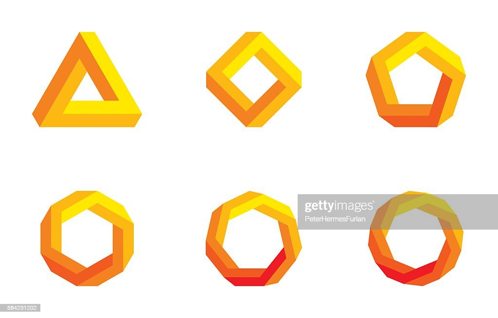 Penrose triangle and polygons colored