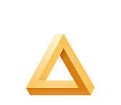 Penrose triangle icon. Impossible triangle shape. Optical Illusion