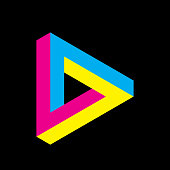 Penrose triangle icon in CMYK colors. Geometric 3D object optical illusion. Vector illustration. Printing studio theme