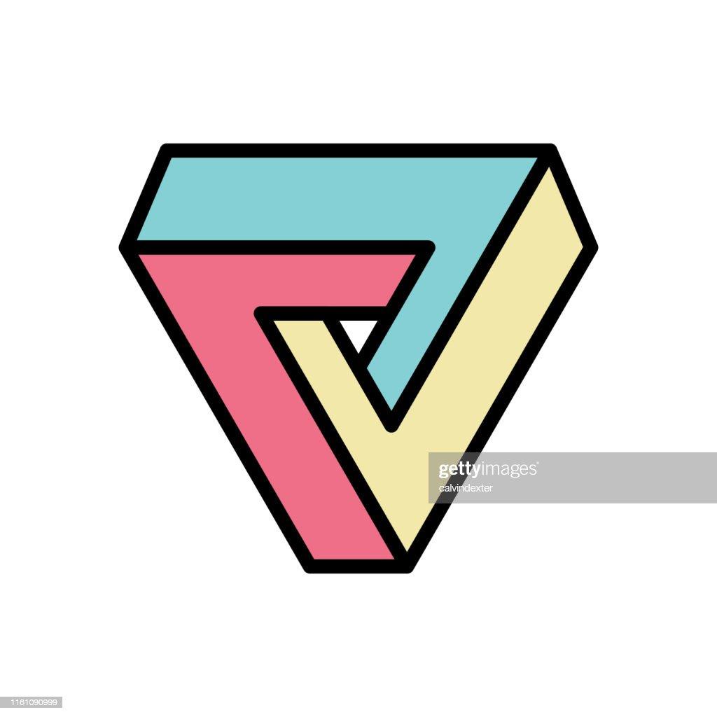 Triángulo de Penrose geometría imposible : Ilustración de stock
