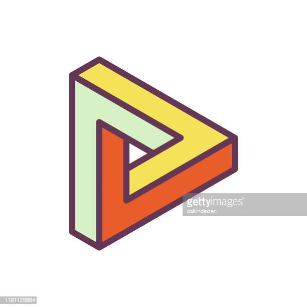 penrose triangle impossible geometry - infinity stock illustrations