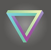 Penrose triangle in neon colors