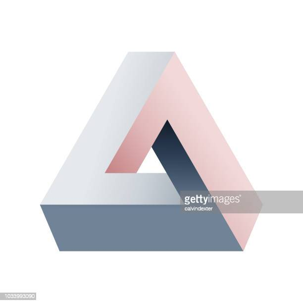 penrose triangle - three dimensional stock illustrations