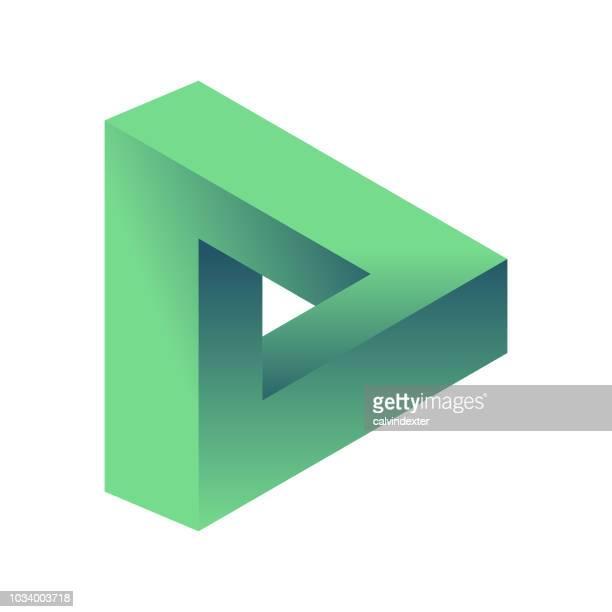 illustrazioni stock, clip art, cartoni animati e icone di tendenza di triangolo di penrose - illusione