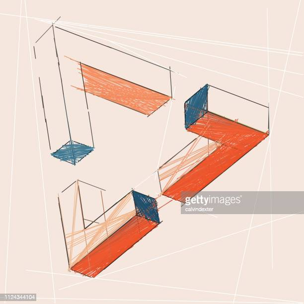 penrose triangle - optical illusion stock illustrations