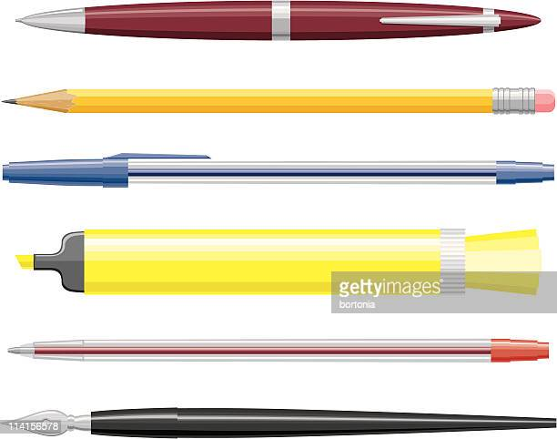 pens and pencils - ballpoint pen stock illustrations, clip art, cartoons, & icons