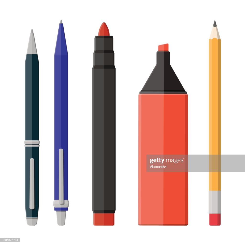 Pens, pencil, markers set isolated on white