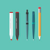 Pens, pencil, markers vector set isolated on green background