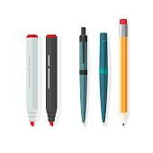 Pens, pencils, markers vector, dot biro pen with red rubber eraser, pencil