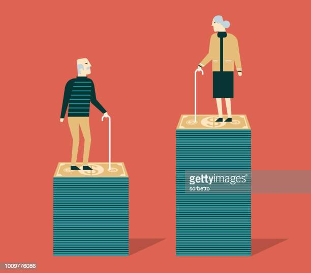 pension fund. grandma and grandpa - mature adult stock illustrations