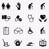 Pensioner and Elderly Care Icons