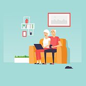 Pensioners are sitting on the Internet. Flat design vector illustration.