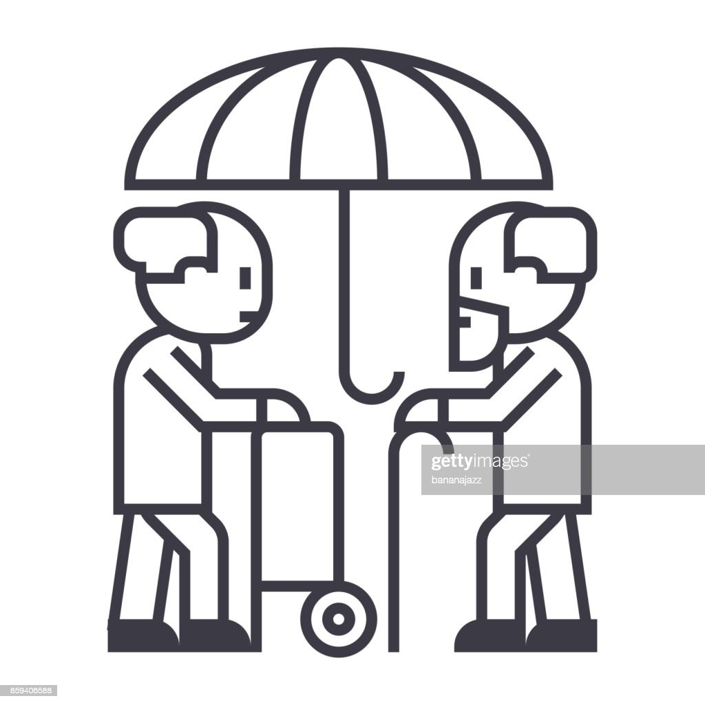 pensions, protection,long term care vector line icon, sign, illustration on background, editable strokes