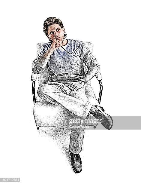pensive man - humourless stock illustrations, clip art, cartoons, & icons