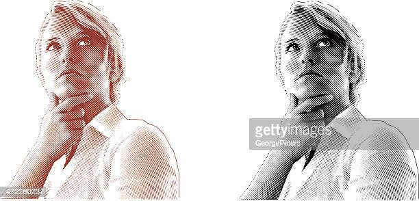 Pensive Woman Engraving