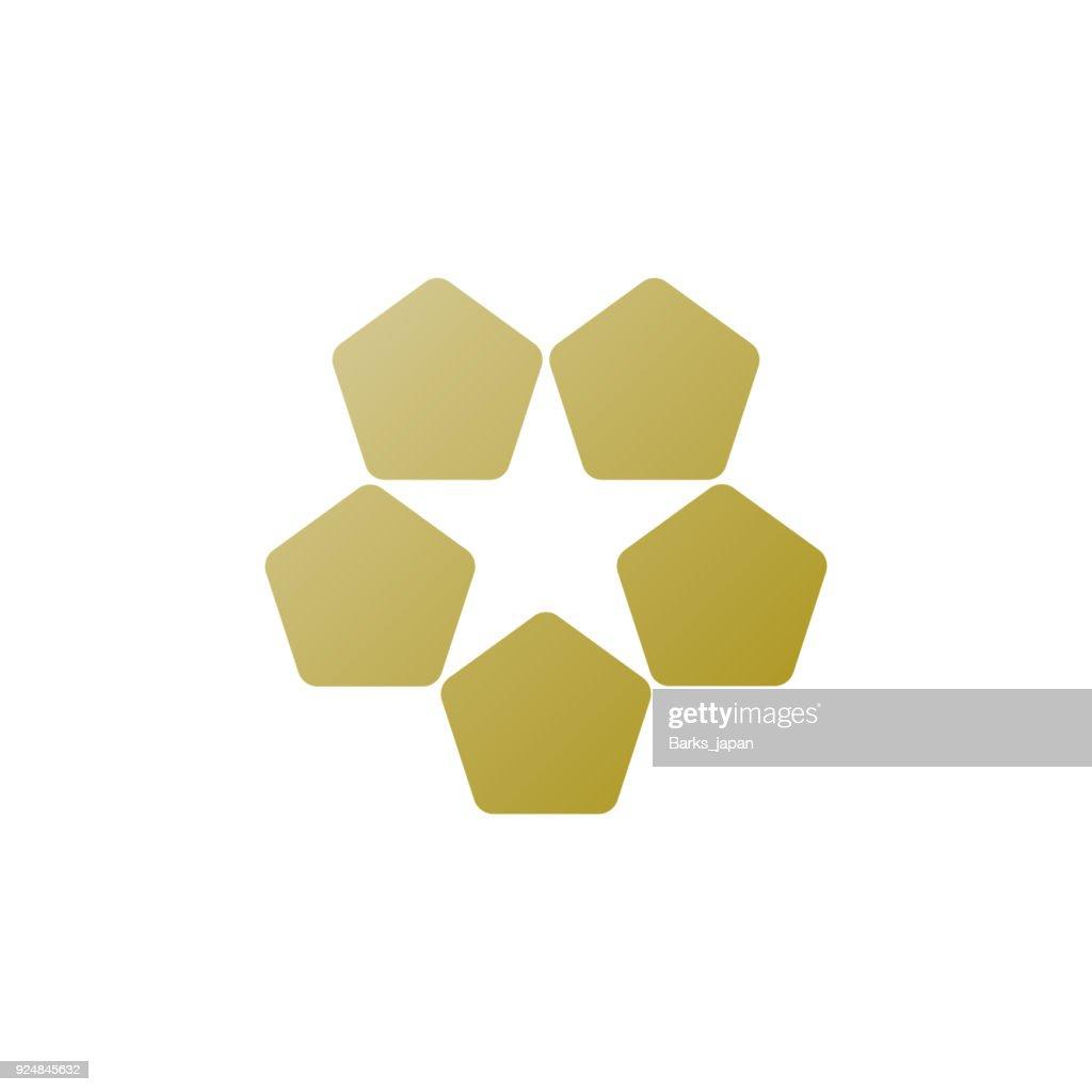 5 Pentagons making 1 star icon
