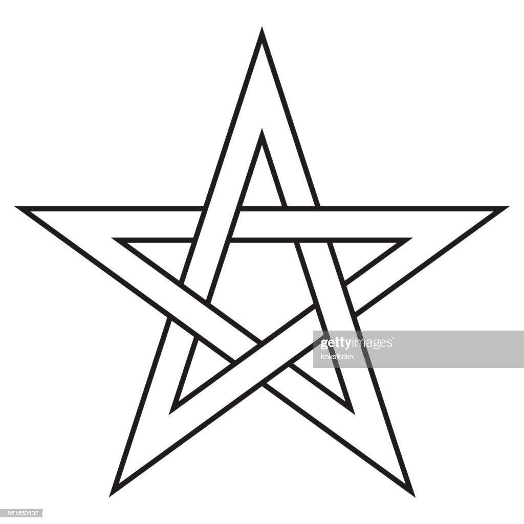 Pentagram five end star with weave sides, sector symbol dark forces