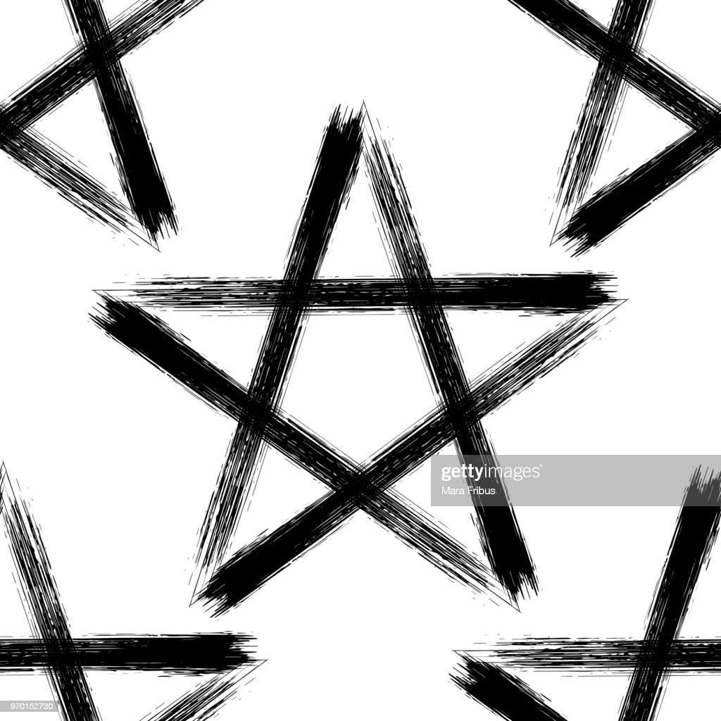 Pentagram occult symbol seamless pattern