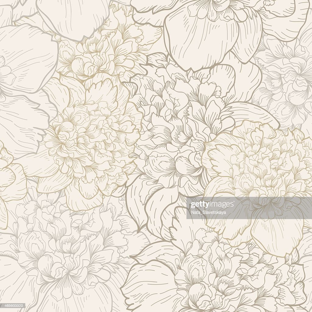 Peonies pattern in soft beige seamless
