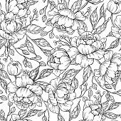 Peony flower seamless pattern drawing. Vector hand drawn engrave
