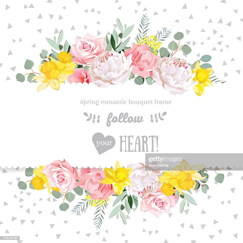 Peony, rose, narcissus, pink flowers and eucaliptus vector design card