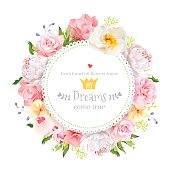Peony, rose, orchid, carnation, camellia, hydrangea vector design round card