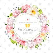 Peony, rose, orchid, carnation, camellia, hydrangea vector design round card