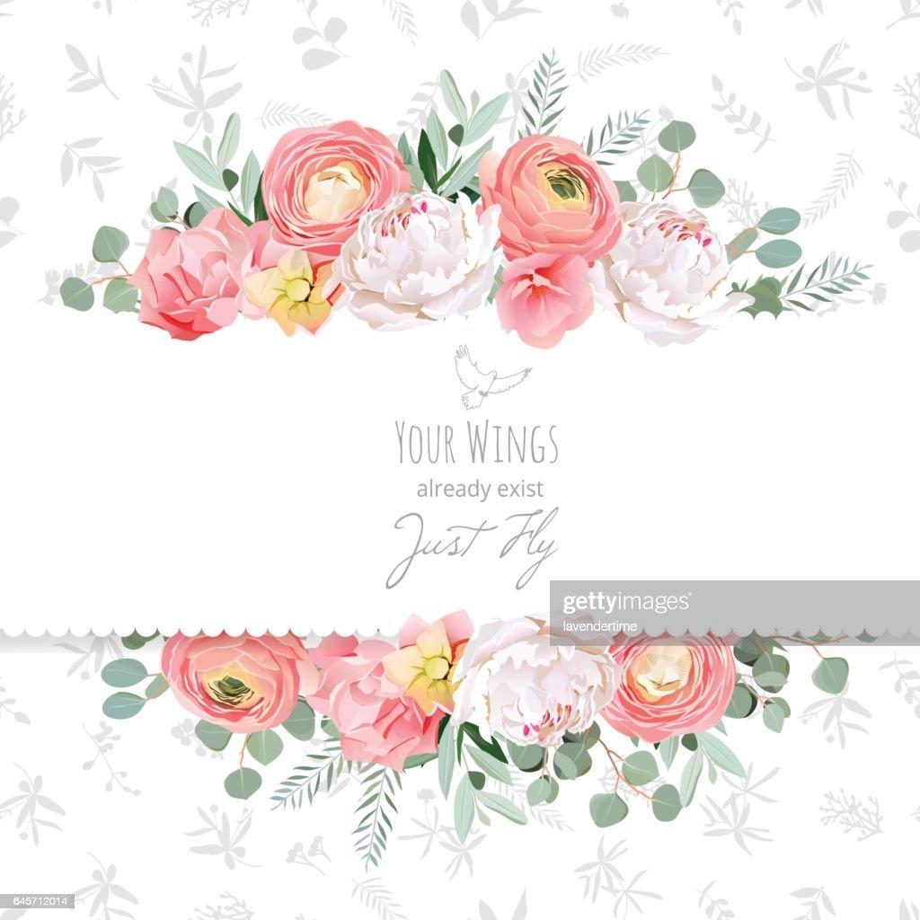 Peony, rose, ranunculus, pink flowers and decorative eucaliptus