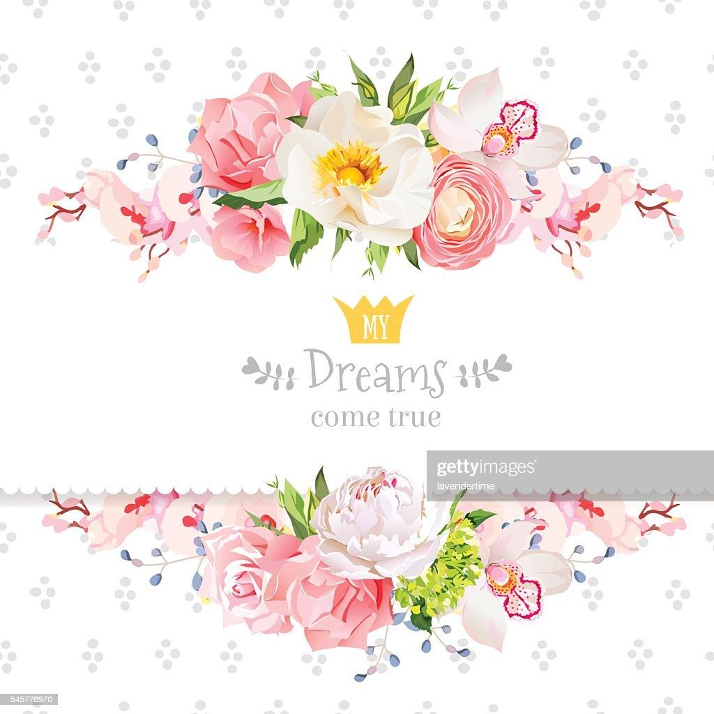 Peony, wild rose, orchid, carnation, ranunculus, hydrangea vector design card.