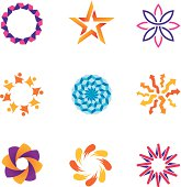 People abstract connected community spiral success circle logo icons