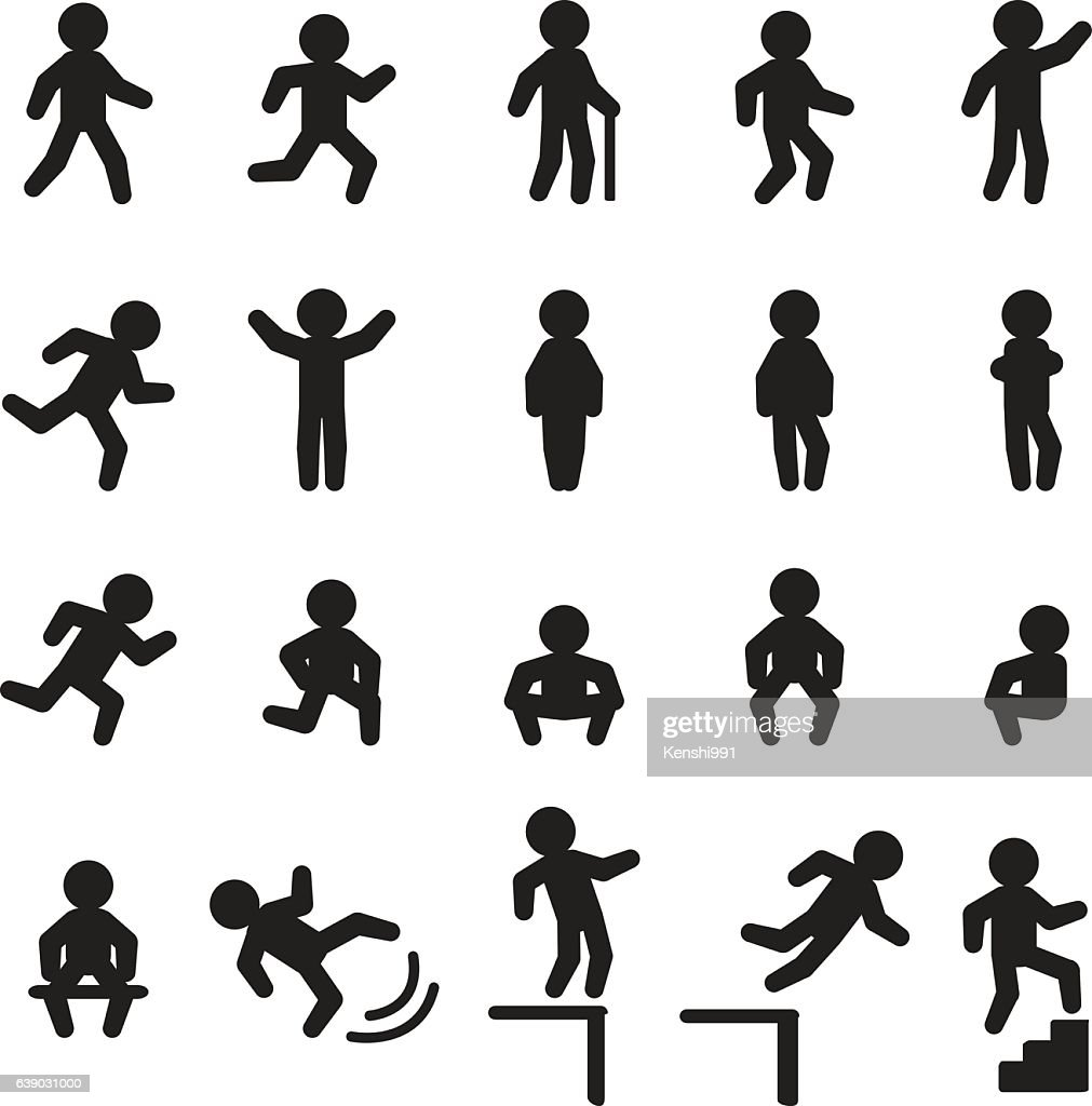 People actions icon set. Vector icon set.