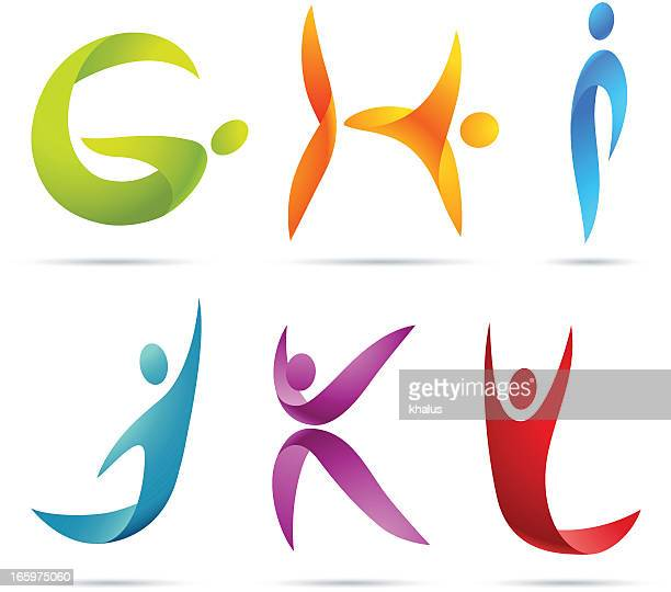 stockillustraties, clipart, cartoons en iconen met people alphabet - sporting term