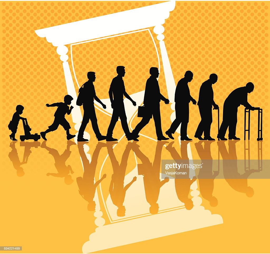 People and Aging Process with Hourglass : stock illustration