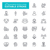 People and Business Editable Stroke Icons