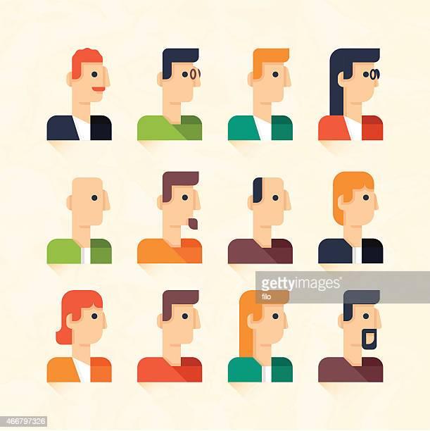 illustrations, cliparts, dessins animés et icônes de les gens d'affaires ou les profils utilisateur - cheveux