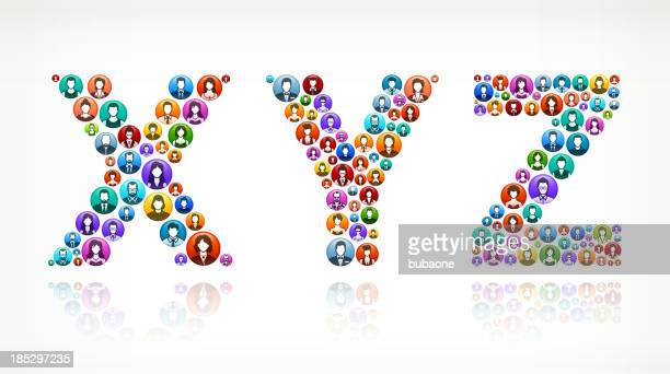 XYZ People and community vector buttons