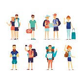 People and couples travelling. Character design. Flat design vector illustration.