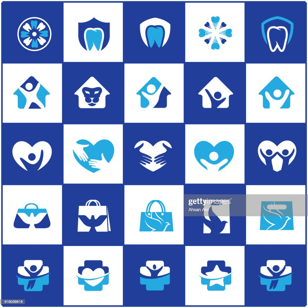 People and kids care icon design, hospital and dental symbols, hand bag, bird, lion vector icons collection.