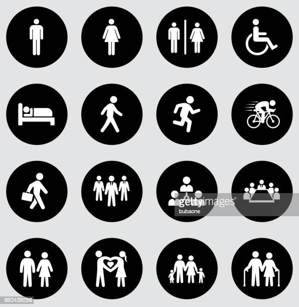 People and Modern Life Icon Set on Black Flat Vector Buttons
