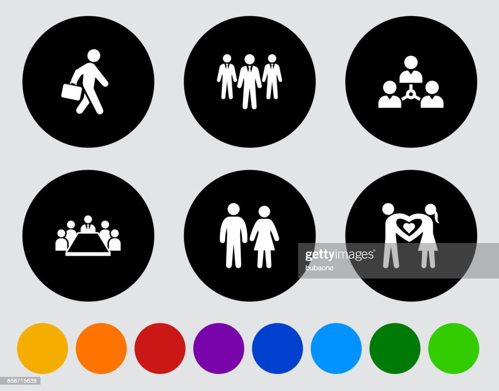 People and Modern Life Icon Set on Black Flat Vector Buttons : stock illustration