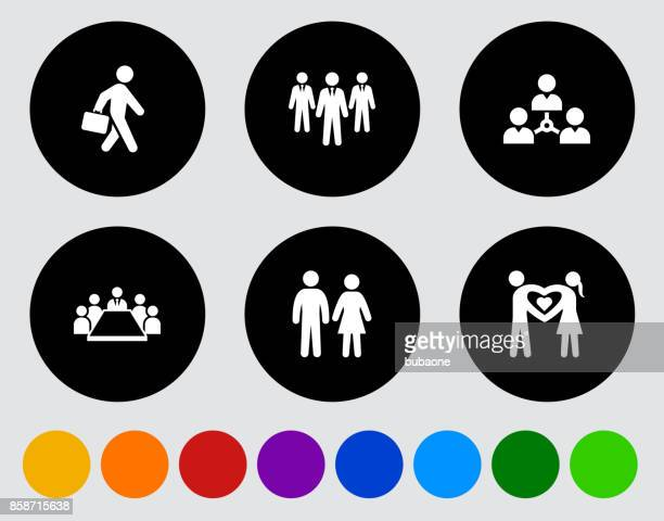 people and modern life icon set on black flat vector buttons - work romance stock illustrations, clip art, cartoons, & icons
