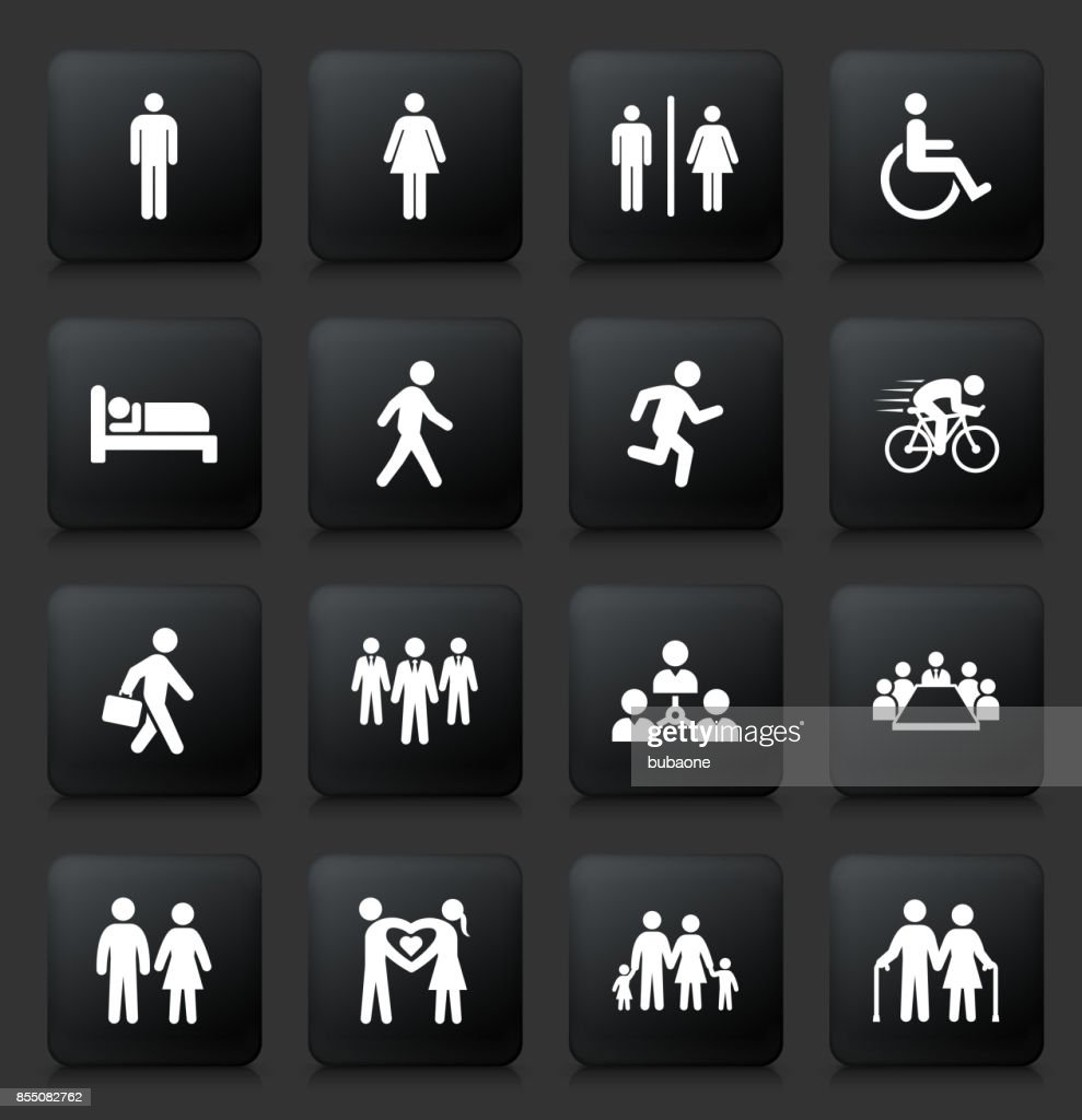 People and Modern Life Icon Set on Black Square Buttons : stock illustration