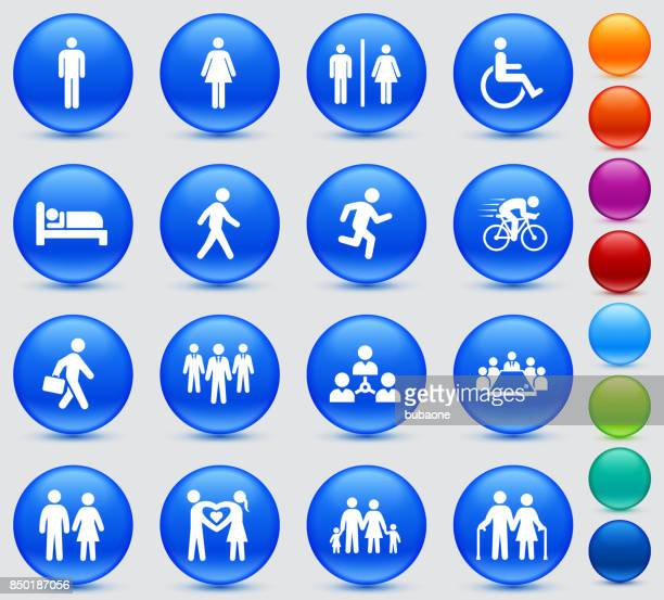 people and modern life icon set on blue shiny round buttons - work romance stock illustrations, clip art, cartoons, & icons
