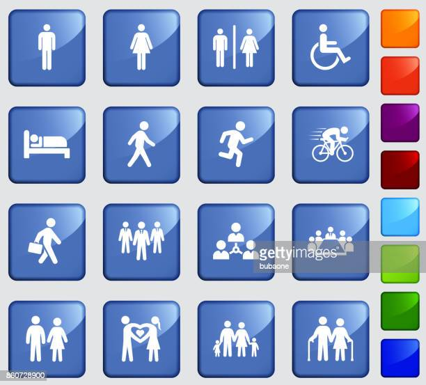people and modern life icon set on blue sticker button background - work romance stock illustrations, clip art, cartoons, & icons