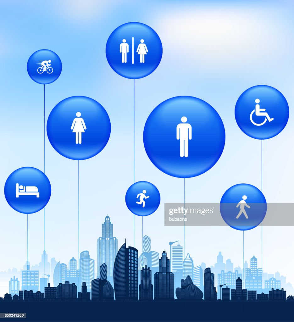 People and Modern Life Icon Set on Cityscape Blue Background : stock illustration