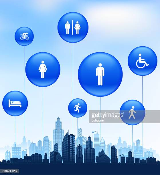 people and modern life icon set on cityscape blue background - disabled access stock illustrations, clip art, cartoons, & icons