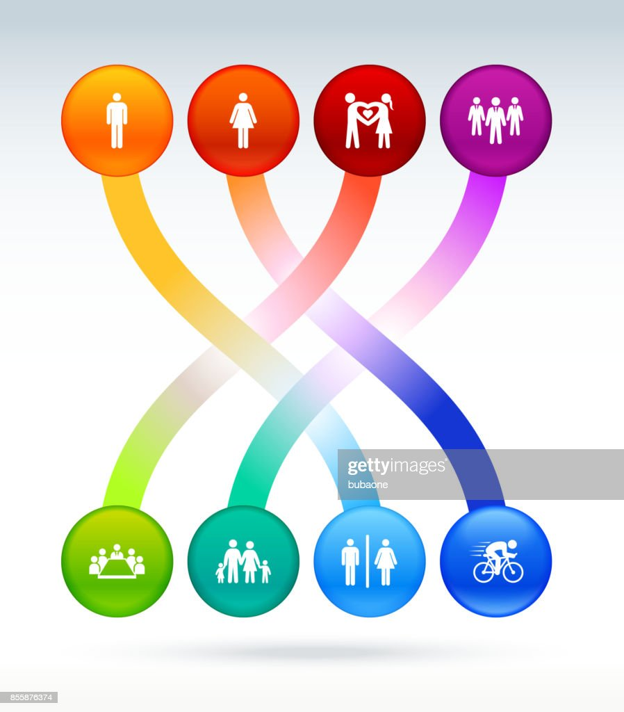 People and Modern Life Icon Set on Interconnected Colorful Background : stock illustration
