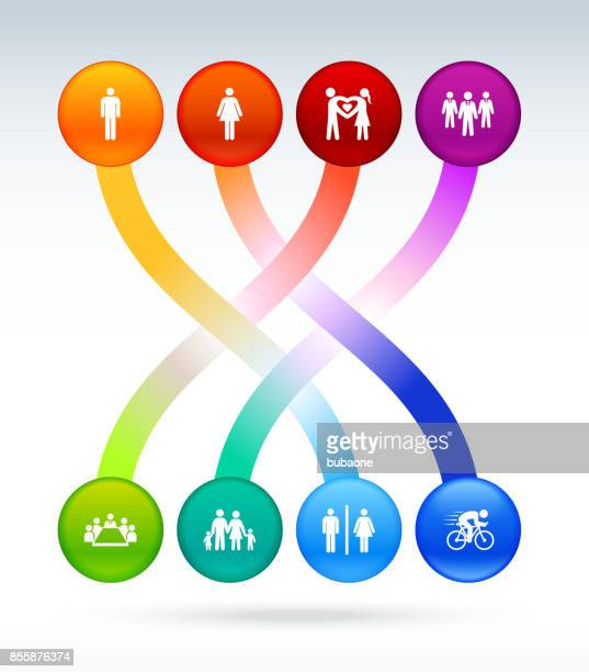 people and modern life icon set on interconnected colorful background - work romance stock illustrations, clip art, cartoons, & icons