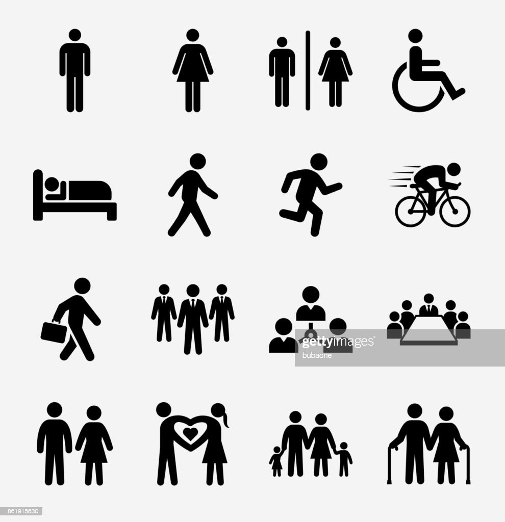 People and Modern Life Icon Set on Light Background : stock illustration